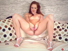 Cute ginger heaven reaches paradise on her pink rocket movies at lingerie-mania.com