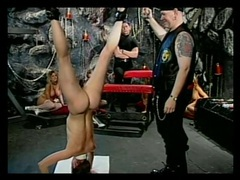 Girls bound upside down and caned in the dungeon tubes