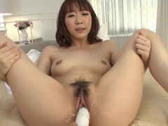 Dildo sliding nice and slow into her asian pussy tubes at chinese.sgirls.net