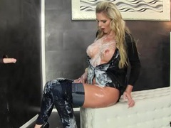 Tall blonde babe covered in thick fake cumshots tubes