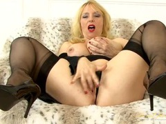 Sheer stockings with hold ups on this hot milf videos