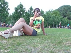 Public upskirt day with a beautiful brunette movies