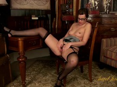 Skinny mom in glasses rubs her hairy cunt movies at reflexxx.net