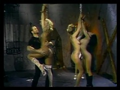 Slender sub girls chained up in the dungeon tubes