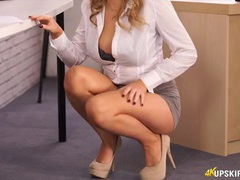 Smoking hot secretary does an upskirt tease for you videos