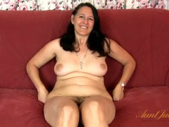 Chubby mom strips during her interview videos