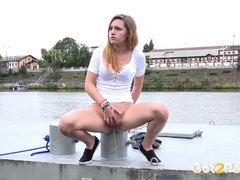 Cute chick by the river taking a hot piss tubes