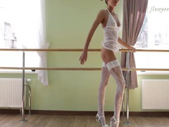 White lingerie on the gorgeous teen ballerina movies at find-best-hardcore.com