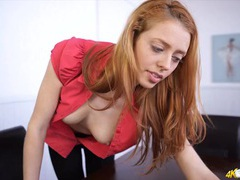 Pretty redhead happily teasing her tits to turn you on movies at kilotop.com