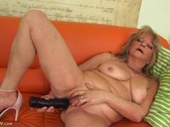 Naked old lady fucks a big black dildo videos