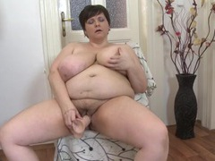 Fatty with sexy big tits fucking a toy videos