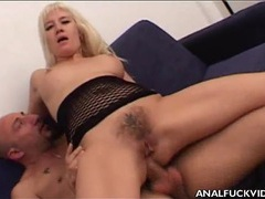 Hairy blonde banged in her pussy and asshole videos