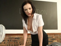 Teacher teases you with her cleavage in detention videos