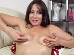 Milf oils up her tits as she gives lusty joi movies at sgirls.net