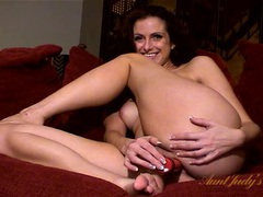 Naked curly hair milf fucks a toy into her hot snatch movies at kilosex.com