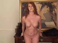 Fit milf redhead beauty strips and masturbates videos