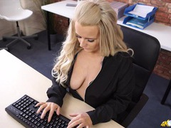 Spy down the shirt of the curvy blonde at work videos