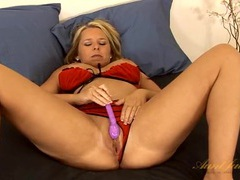 Red bra and panties on this toy fucking blonde beauty videos