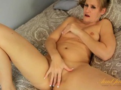 Fingering mom beauty with a lovely french manicure videos