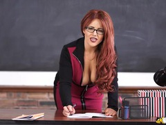 Curvy teacher in dark lipstick teases her cleavage videos