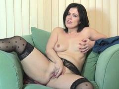Polka dot stockings on a solo masturbating milf videos