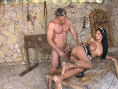 French maid with fake tits ass fucked outdoors videos