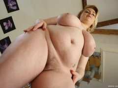 Stare up at the bbw in lingerie as she strips movies at find-best-tits.com