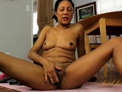 Super cute black milf masturbates her shaved pussy videos
