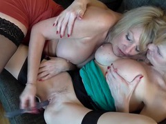 Lesbian milfs in stockings fuck toys together videos