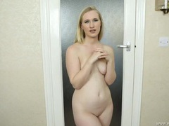 Shaved british pussy is hot on this teasing blonde girl clip