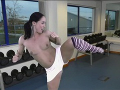 Sexy aerobics workout with a nice striptease videos