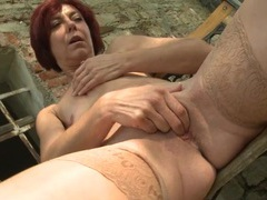 Mom in the garden fingering her pink cunt movies at sgirls.net