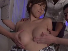 Pretty girl in a kimono sucking three hard dicks tubes at japanese.sgirls.net
