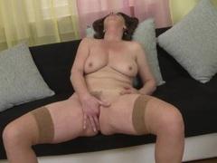 Beautiful big tits on this masturbating old lady videos