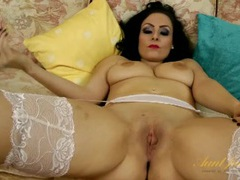 Beautiful mom in a lingerie set plays with her cunt movies at sgirls.net