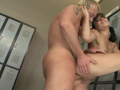 Inked anal slut fucked in the locker room movies at lingerie-mania.com
