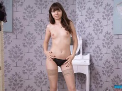 Perfect short dress on a skinny stripping girl videos