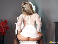 Curvy ass british girl in a white lace dress movies at sgirls.net