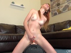 Redheaded girl in a pretty yellow dress masturbates videos