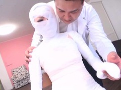 Subtitled bizarre japanese woman bandaged head to toe tubes at japanese.sgirls.net