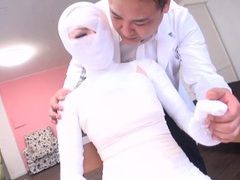 Subtitled bizarre japanese woman bandaged head to toe tubes at lingerie-mania.com