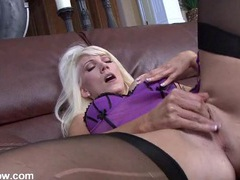 Hot blonde milf in beautiful lingerie masturbates videos