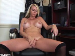Milf masturbates her tight cunt in the home office movies