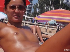 Small tits girl with a great tan is topless at the beach movies at find-best-hardcore.com