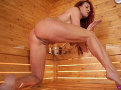 Milf in the sauna masturbates and talks dirty videos