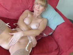 Elegant stockings and a garter belt on the milf videos
