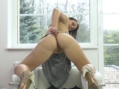 Beautiful high heeled girl licking her titties videos
