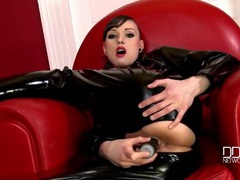 Latex catsuit beauty fucks a black dildo lustily movies at kilopics.net