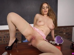 Teacher sophia delane sits on the desk and masturbates movies at kilopics.net