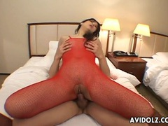 Hot red fishnet body stocking on his cock riding asian tubes at korean.sgirls.net